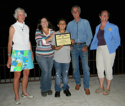 Valente Campos received a Certificate of Recognition from Mountain Harvest Festival after the Kids Pasta Project dinner for Teens on Farms on Sept. 10, 2012.